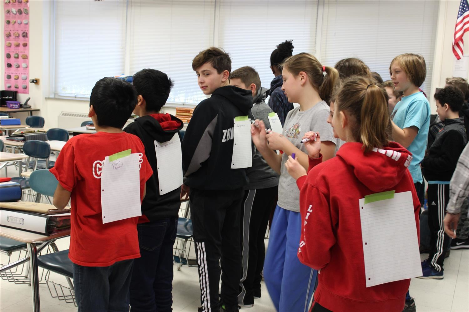 Linden Avenue Middle School students participate in a perceptions exercise.