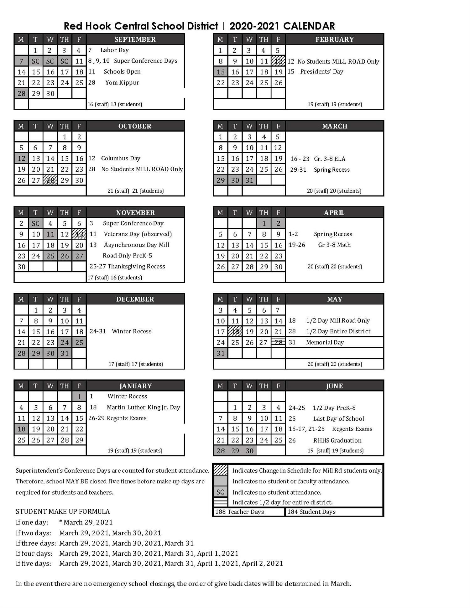 One-Page District Calendar